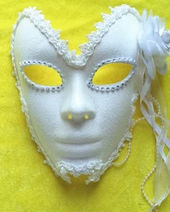 Venetian masquerade mask Snow White men and women with feathers and flowers bud silk full face white gold mask