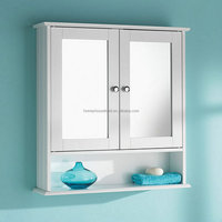 Modern design home bathroom furniture two glass door cabinet and shelf