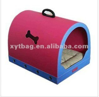 PU leather dog house with porch