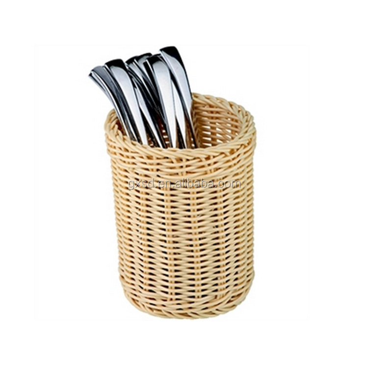 4 section plastic rattan craft cutlery holder for table chopstick knife storage