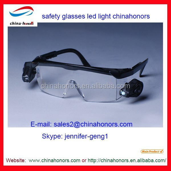 safety glasses led light/uv400 protection glasses/pc lens glass