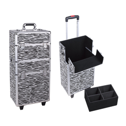 Heavy duty aluminum makeup tool box hairdresser trolley case