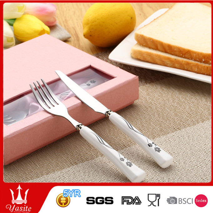 Stainless steel cutlery fruit knife and fruit fork sets with gift box