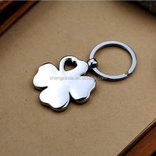NEW Loving Pink Color Four-leaf Clover Split Ring Keyfob Keyring Keychain Gift
