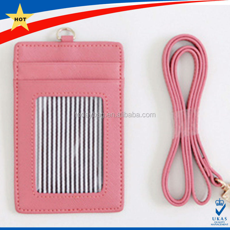 imitation leather ID card holders with Woven lanyard