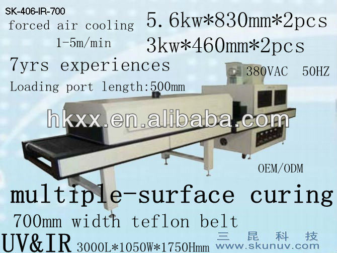 high efficiency mult-suface curing wood furniture uv curing machine 380V