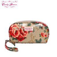Waterproof Flowers Print Canvas Cosmetic Pouch Zippered Makeup Cosmetic Bag