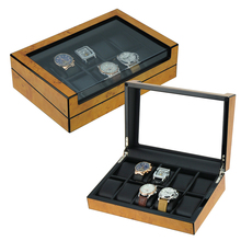 Luxury Burl Wooden Watch Box with Black PU Leather Lined