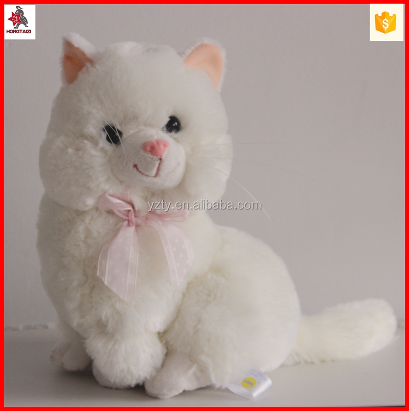 lifelike 25cm white cat plush toy wholesale with bow