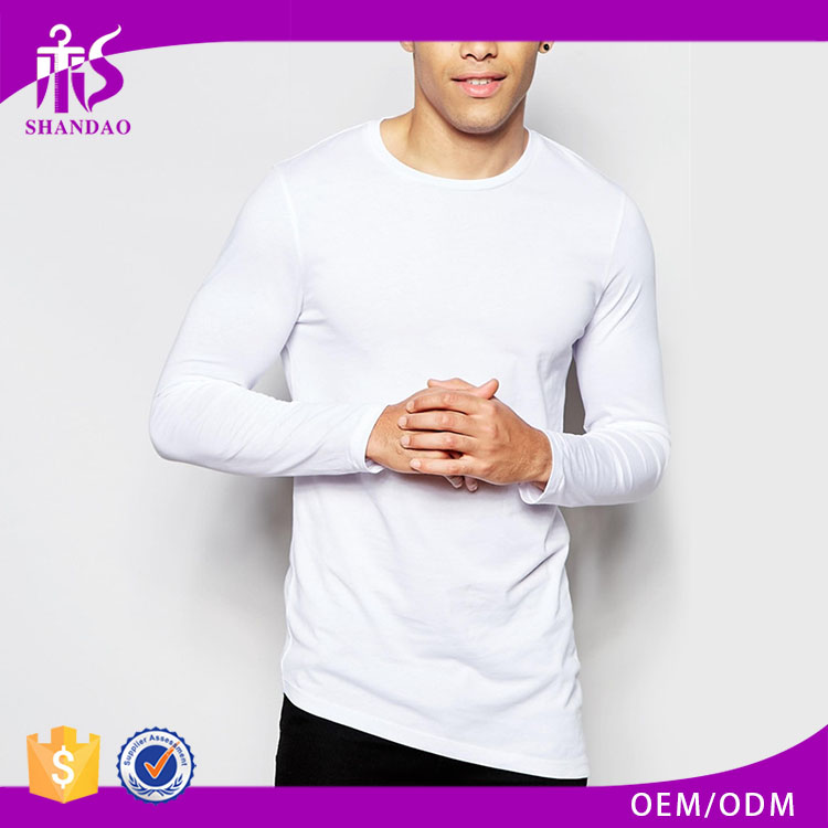 2016 Guangzhou Wholesale Casual 180g 100% cotton Long Sleeve White O-Neck Long Tee Shirt Men