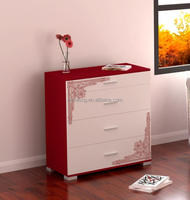 black and red corner design MDF 3 drawers lining room storage cabinet