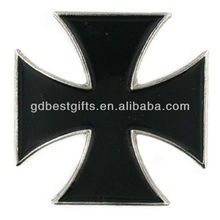 Black Iron Cross metal lapel pin with back