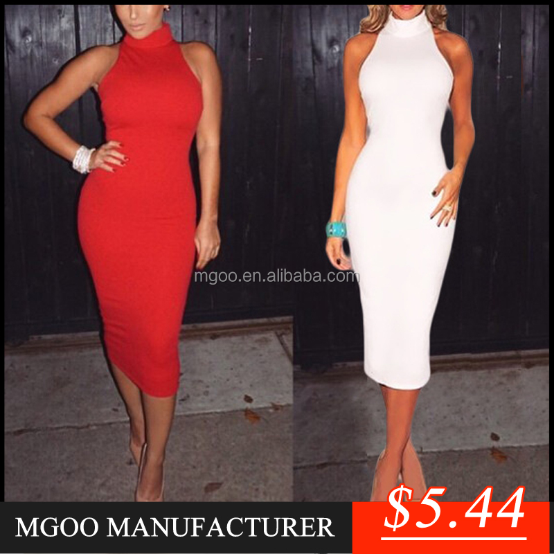 MGOO New Arrival OEM/ODM Red Halter Bodycon Dress White Shealth Women Clothing Elegant Evening Dress Z193