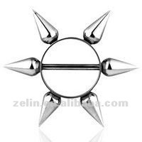 Unique stainless steel cool nipple ring with cone body piercing jewelry