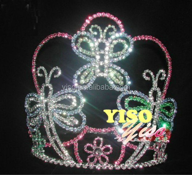 costume bride colored butterfly pageant crystal tiaras for sale
