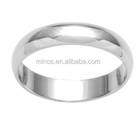 10k White Gold Women's Round 4mm Wedding Band Ring for Wholesale