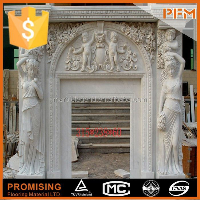 China supplier for nature stone micro marble surrounds simple stone mantel plain marble fireplace