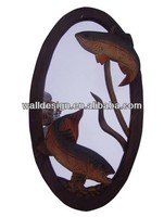 elliptic antique wood carved mirror frame of home decoration,two fishes