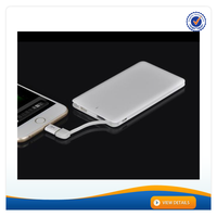 AWC914 4000mAh 8.5mm OEM build in cable 5000mah smart plastic card charger powerbank for phones