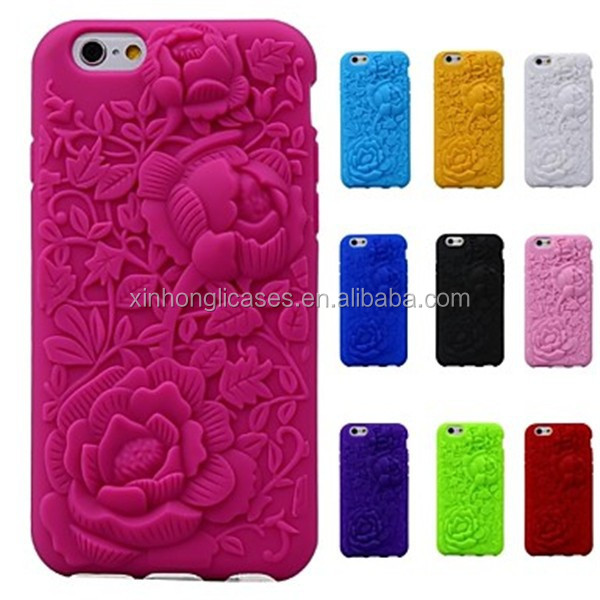 3D Rose Pattern Silicon Rubber Soft Case for iPhone 6, For IPhone Case,Phone Case For IPhone