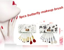 Lovely mini 9pcs wood handle cosmetic brush powder brushes portable makeup brushes set with butterfly PU Leather bag