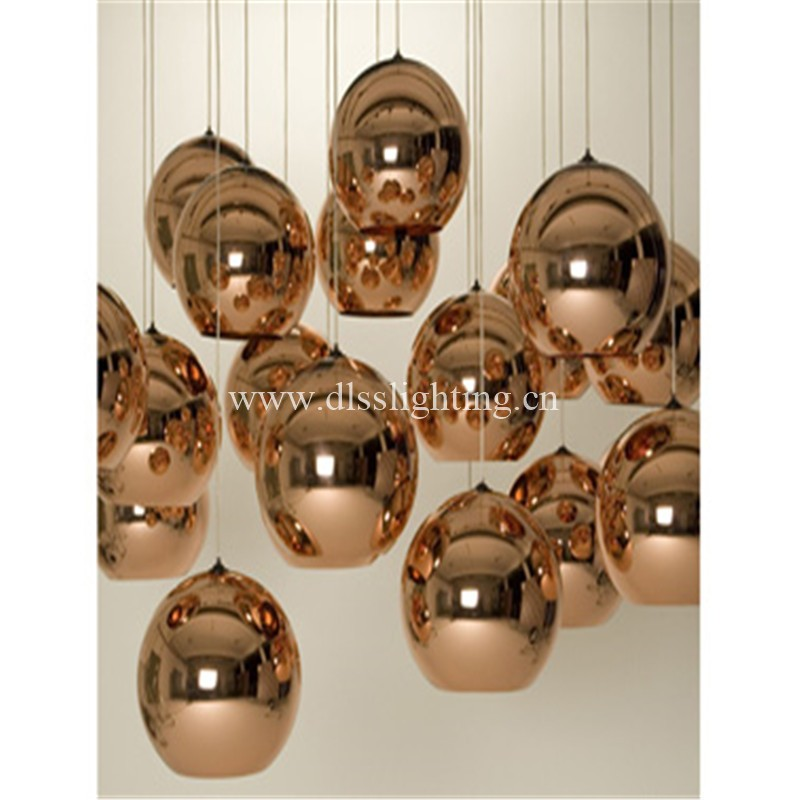 hot! modern silver glass mirror ball pendent lamp for decoration