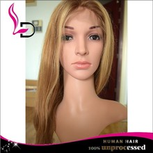 blond color brazilian human hair ombre full lace wig for custom order
