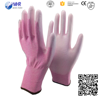 PU gloves pink nylon liner PU gloves/abrasion resistant PU gloves/protective gloves good quality