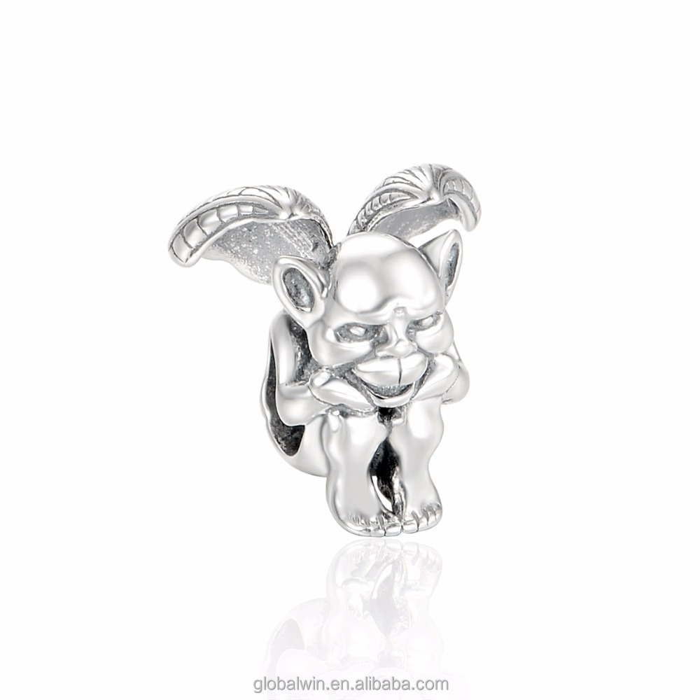 S925 Sterling Silver Jewelry Halloween Beads Devil with Wings Match Fit European DIY Bracelets T169