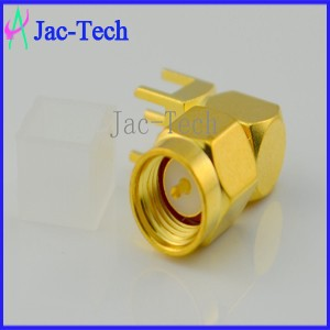 Factory price brass mamerial adapter SMA male plug right angle with PCB monut cable coaxial connector