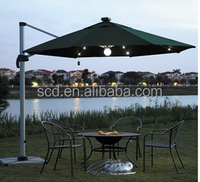 Popular Solar Power Led lights 8 Ribs Aluminium Frame Beach Umbrella