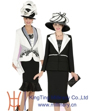 Women Black/White Fancy Church Suits With Matching Church Hat Wholesale