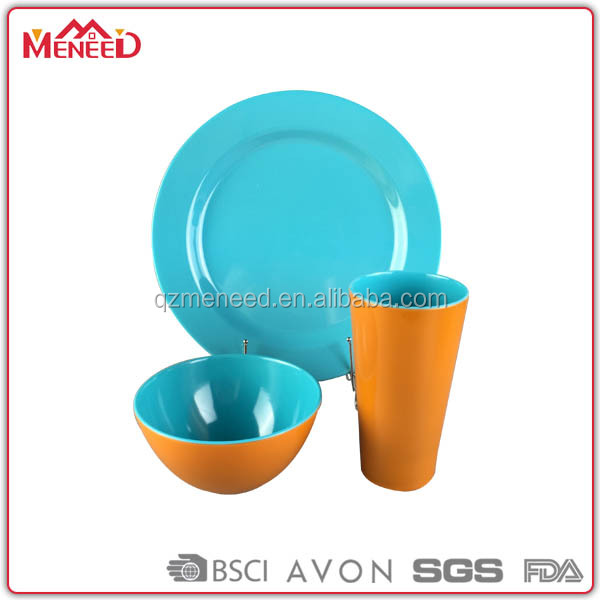Melamine Factory custom Two Tone Color Plastic Chinese Tableware