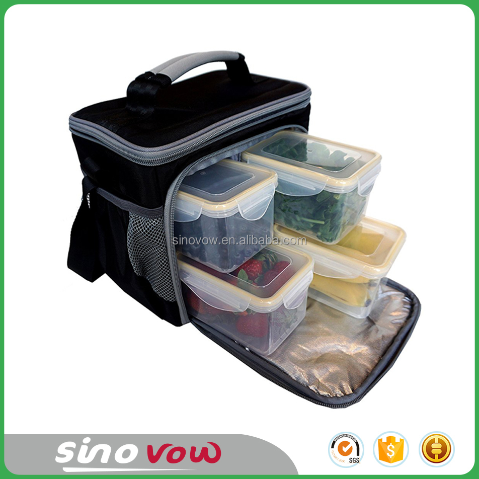 Insulated Meal Management Lunch Box Including 4 Large BPA Free Containers Portion Control Meal Prep Bag