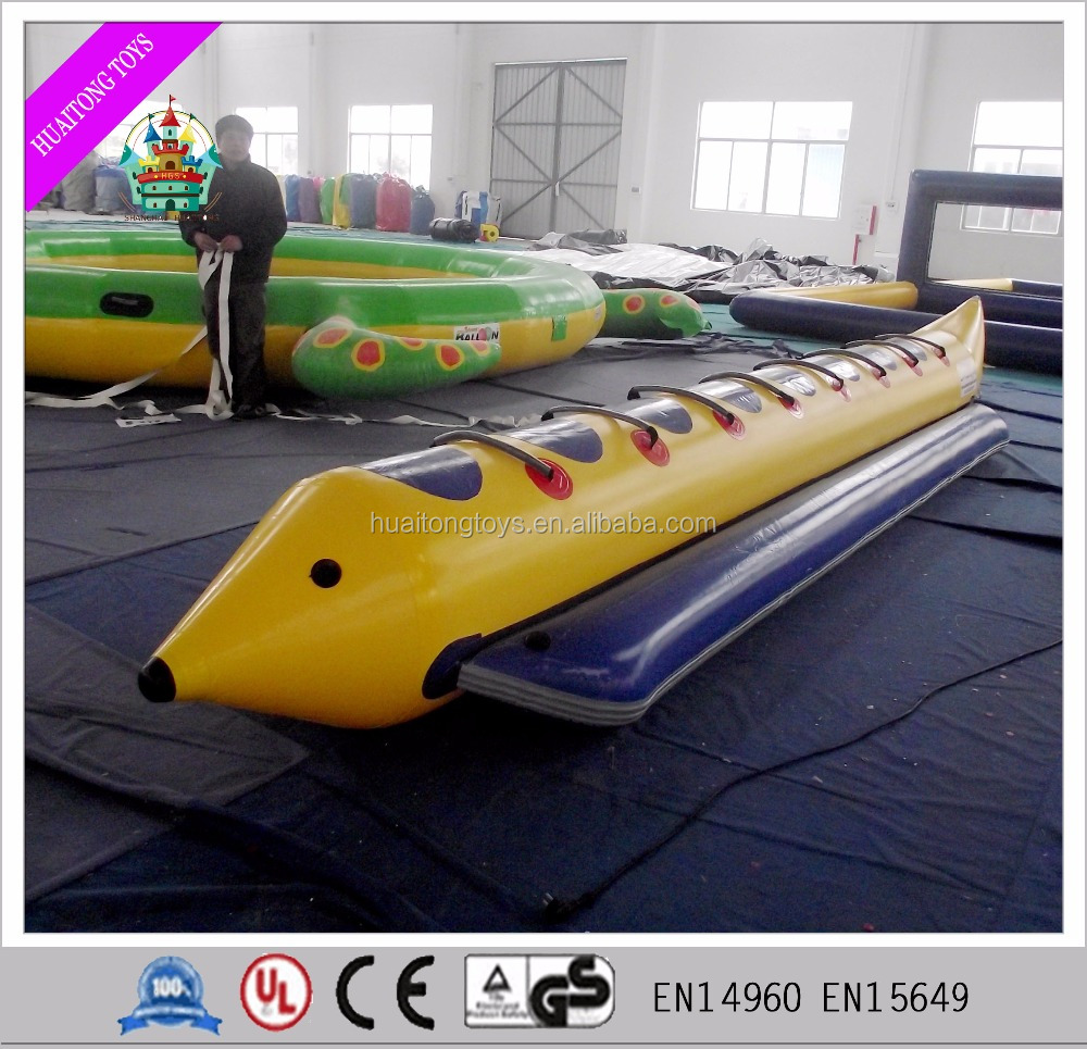 2016 Cheap 0.9mm PVC inflatable banana boats, fly fish tube , rubber boat for sale
