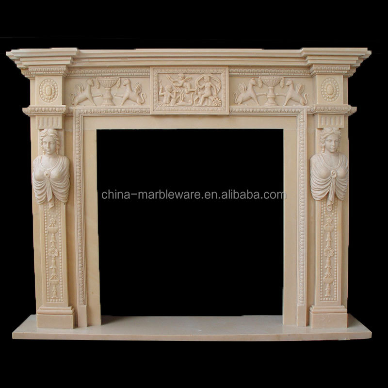 Marble hand carving outdoor gas fire place
