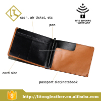 customer genuine leather travel passport holder RFID wallet with SIM card slot