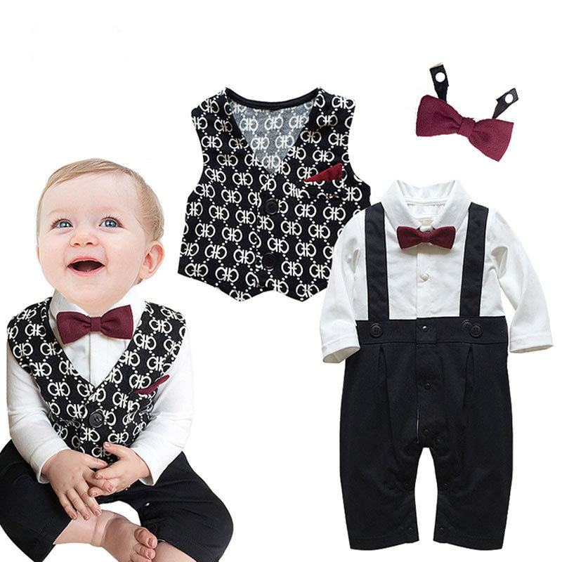 Formal Baby Boys Tuxedo Suits Bowtie Rompers And Vests Cute Outfits