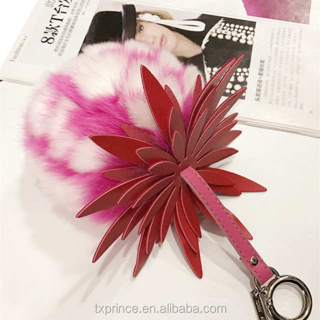 natural fox fur ball pom pom fur keychain ring for bag or car <strong>key</strong>