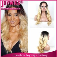 2015 Popular High Quality Beyonce Soft Dark Roots Human Hair Blonde Ponytail Lace Front Wig