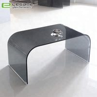 Grey Color Round Corner Glass Center Table Furniture