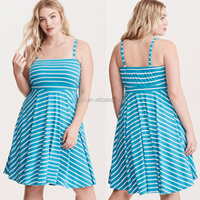 plus size evening dress striped tube mini dress sleeveless 100 cotton sky blue cocktail party club wear dresses plus size
