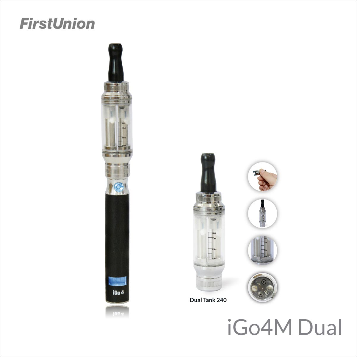 Firstunion new style elite electronic cigarette iGo4M dual flavors clearomizer hookah for sale