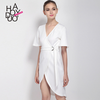 HAODUOYI Women Sexy Deep V Dresses Short Sleeve Solid Dresses Irregular Tie Slim Party Midi Dresses For Wholesale