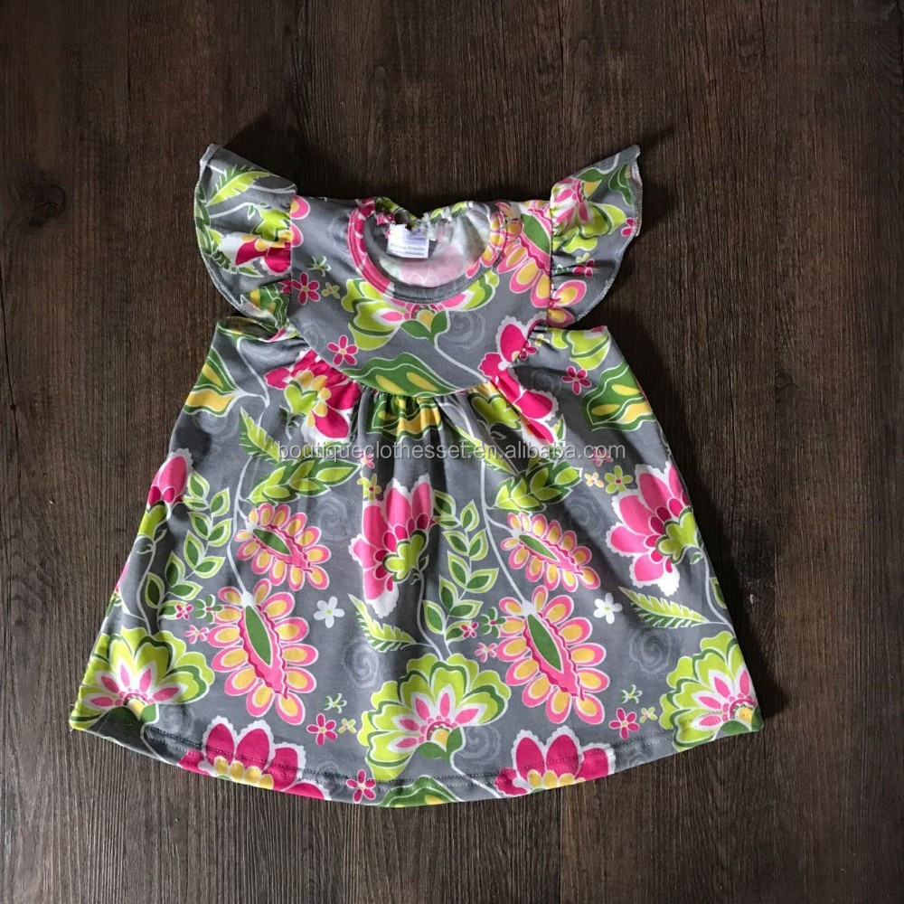 mayflower wholesale smocked clothing newest floral printed flutter dress top sale baby flutter seelve frocks