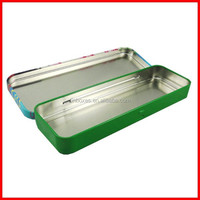 wholesale customed packing metal rectangular tin pencil box