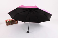 Candy Color Black gel Floating Flower Printing 3 Fold Umbrella