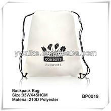 210D Polyester White Drawstring Backpack Bag