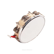 Wood Shell Sheep Skin Head Tambourine Hand Drum with Bells