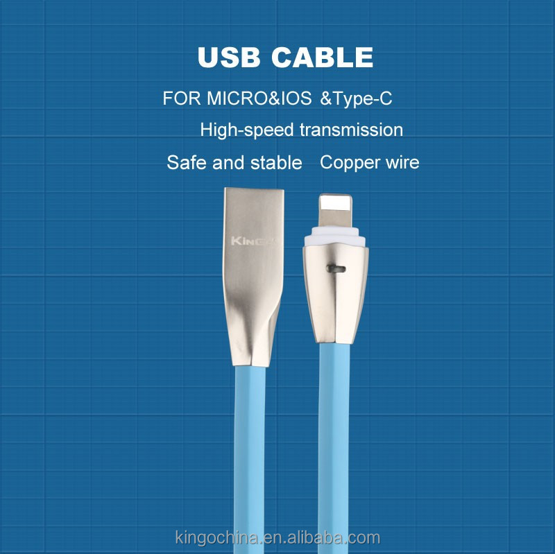 Hot Sell Metal head USB Charge flat cable Zinc Alloy USB Data Cable